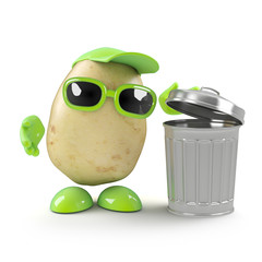 Potato throws his rubbish in the bin