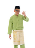 Malay indonesia male with ok sign during ramadan isolated white
