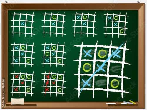 Tic tac toe variations on chalkboard