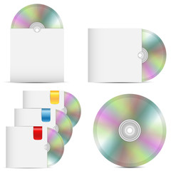 set of disks in packages on a white background