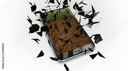 explosion of a cellphone screen, revealing a garden