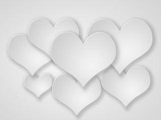 Abstract flying  white hearts onwhite.