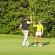 canvas print picture - erfolgreiche Golfer