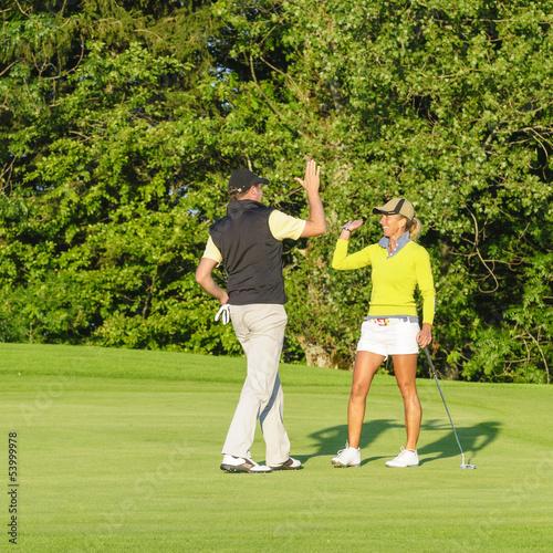 canvas print picture erfolgreiche Golfer