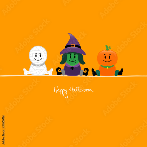 Halloween Mummy, Witch & Pumpkin