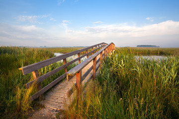 long wooden bridge for bicycles