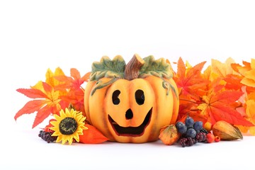 Colorful autumn decorations on white background.