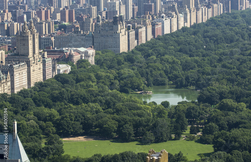 Beautiful aerial view of Central park with skyscrapers on a sunn