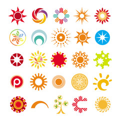collection of abstract symbols of the sun