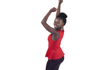 African young woman dancing