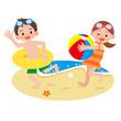 ビーチで遊ぶ子供達