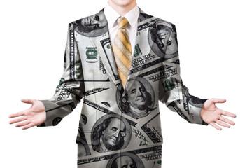 Businessman in dollar suit
