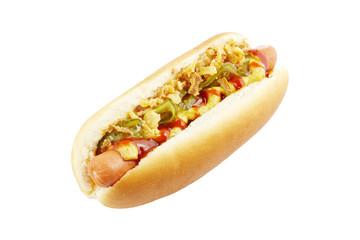 Hotdog auf weißem Hintergrund