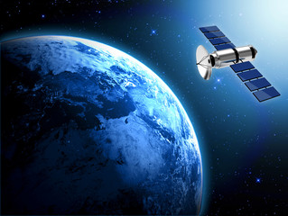 planet earth and satellite  in space