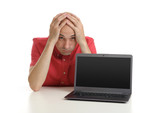 Frustrated man with laptop. Isolated on white background