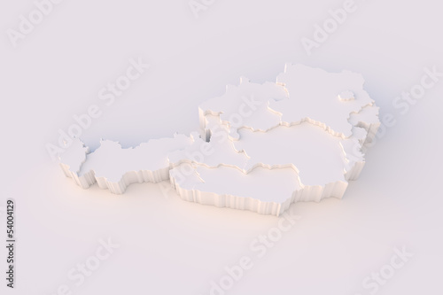 canvas print picture Austria map with states steppwise arranged and clipping path