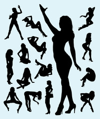 Sexy Girl in Action Silhouettes