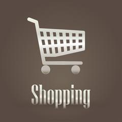 Metallic symbol shopping cart