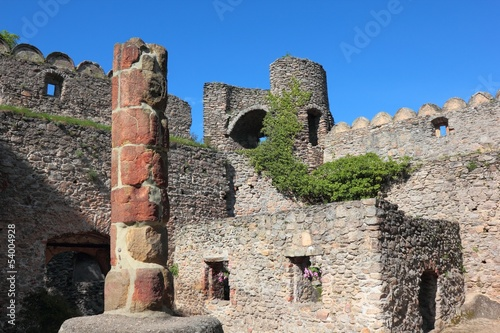 Courtyard of medieval castle Chojnik in Poland