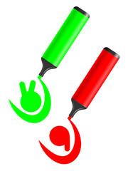 Green and red test icon