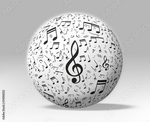 3d musical notes around a white globe - clipping path included