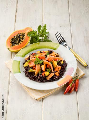 black rice with papaya and smoked salmon
