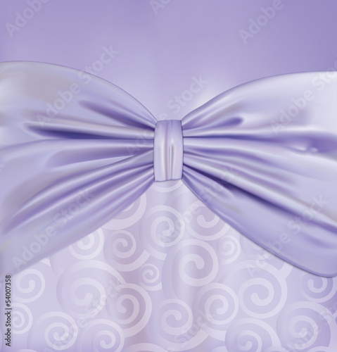 Background with curlicues, ribbon and bow. Vector illustration