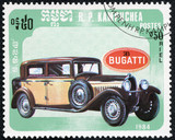 stamp printed in Cambodia shows bugatti retro car
