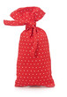 red polka dot bag