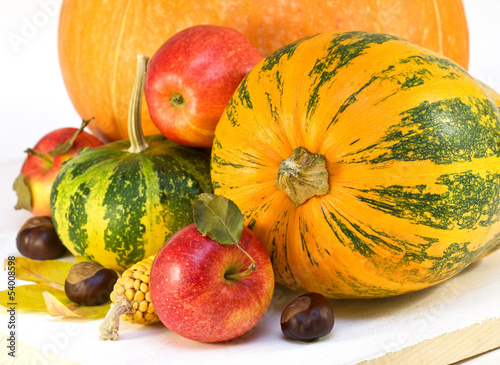 apples, pumpkins, corn,chestnuts