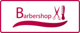red symbol of barbershop with comb and scissors silhouette