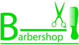 green barbershop symbol with scissors and comb silhouette poster