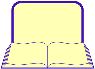 icon with open book with frame and place for text