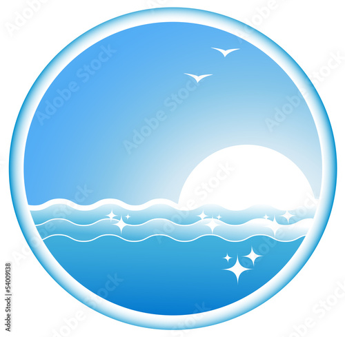 blue icon with sea wave, sun and seagull