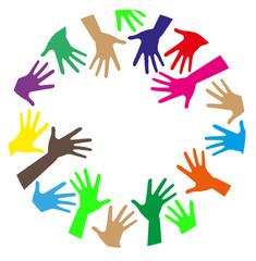 mani colorate che creano una cornice