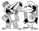 Cartoon ravens talking