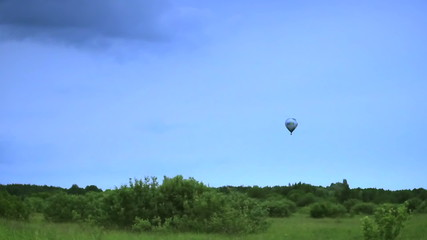 Air balloon flight landscape view, time-lapse