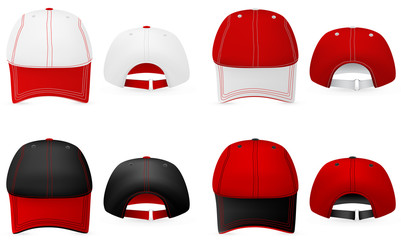 Baseball hat template. Front and back view.