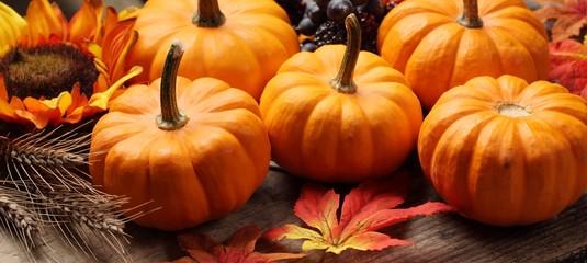 Close-up of little pumpkins, grain and autumn decorations.
