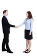 Business Mann schüttelt Frau die Hand
