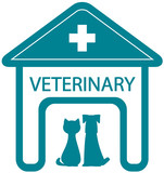 Fototapeta veterinary symbol with home clinic silhouette and pet