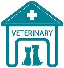 veterinary symbol with home clinic silhouette and pet