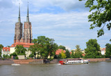 Boats on the River Odra and Kathedral Wroclaw
