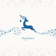 Jumping Reindeer, Christmas Ball & Stars Beige/Blue