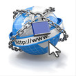 Internet security comcept. Earth and lock.