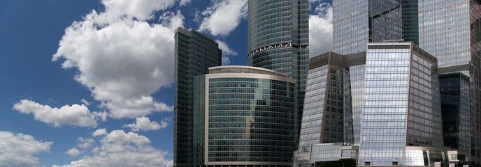 High modern skyscrapers over blue sky, Moscow, Russia