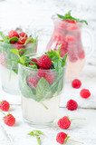 Lemonade with raspberry and mint