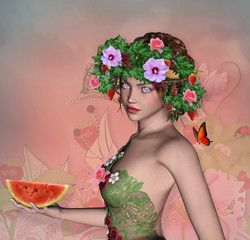 Summer girl with water melon and fruits