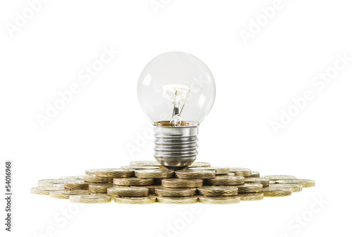 Research Funding Concept Light Bulb on Pile of Coins