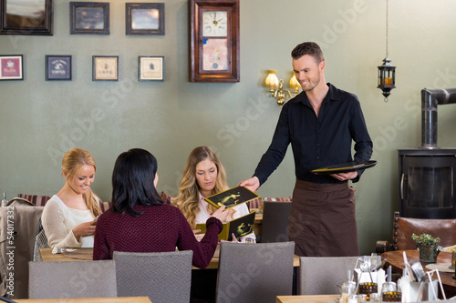 Young Waiter Giving Menu To Female Customers
